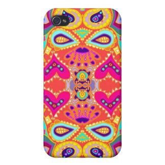 ORANGE Tiki Jungle Monkey Face & Hearts iPhone 4/4S Cases