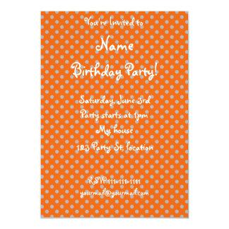 """Orange tiny gray polka dots 5"""" x 7"""" invitation card"""