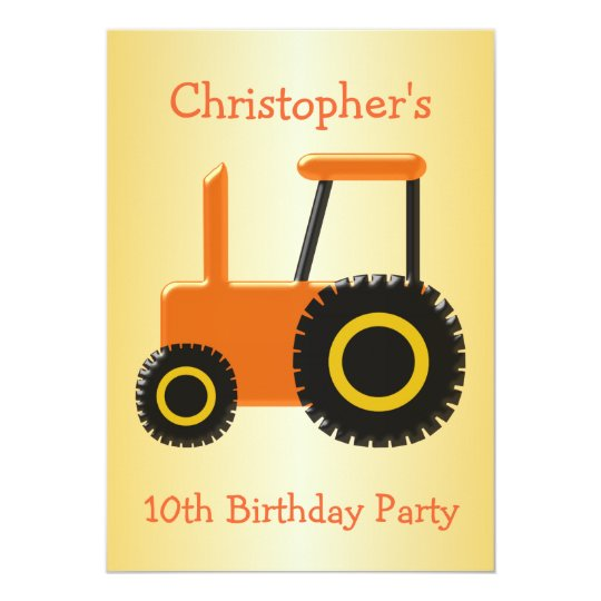 Orange Tractor Birthday Party Card