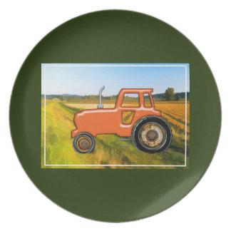 Orange Tractor in the Farm Fields Plate