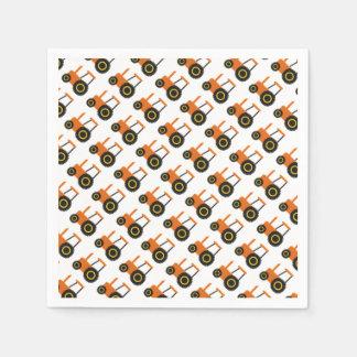 Orange Tractor Paper Napkins
