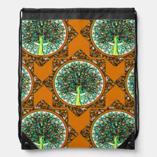 Orange Tree of Life Pattern Backpack