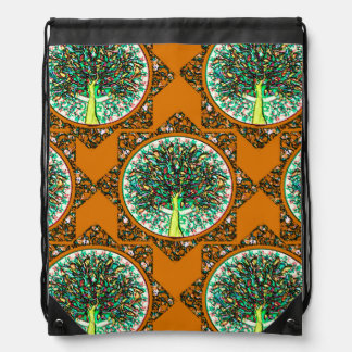 Orange Tree of Life Pattern Drawstring Bag