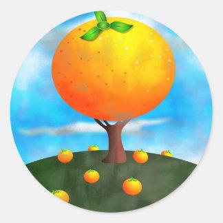 Orange Tree Round Sticker