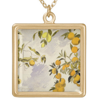 Orange Trees, 1863 (w/c, pen and ink over graphite Gold Plated Necklace