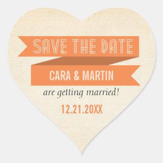 Orange Trendy Banner Save the Date Sticker