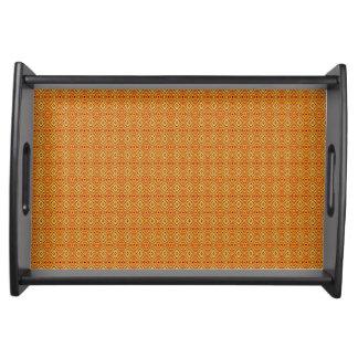 Orange tribal shapes pattern serving tray