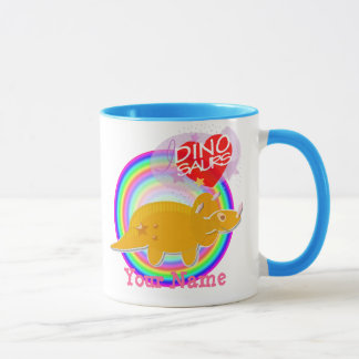 Orange Triceratops Dino Color Mug with Your Name