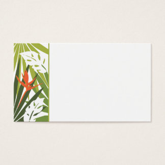 Orange Tropical Floral Wedding Tag Business Card
