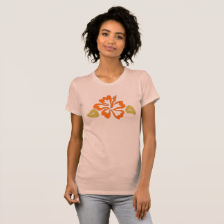 Orange Tropical Hawaiian Hibiscus Flower Tee