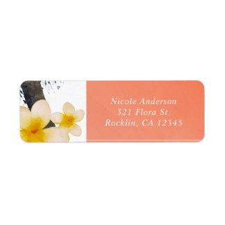 Orange Tropical Palm Tree & Plumeria Invitation Return Address Label