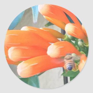 Orange Trumpet Flower with Bee Classic Round Sticker