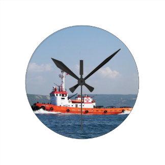 Orange Tug Boat Round Clock