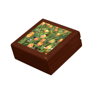 Orange Tulip Field Painting Small Square Gift Box