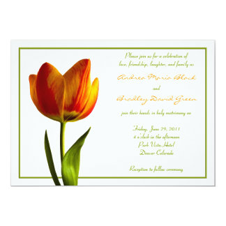 Orange Tulip Flower Wedding Invitation