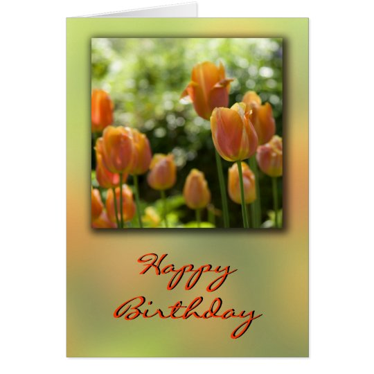 Orange Tulip Flowers Birthday Card