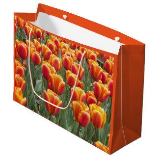 Orange Tulip Garden Floral Large Gift Bag