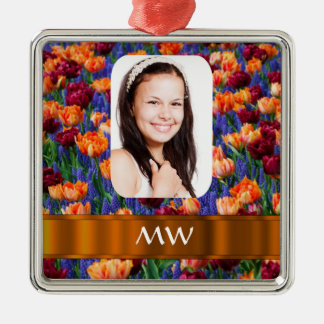 Orange tulip personalized photo Silver-Colored square decoration