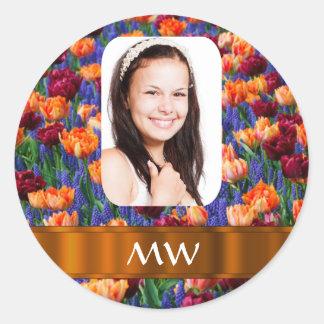 Orange tulip personalized photo round stickers
