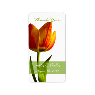 Orange Tulip Wedding Favor Tags Address Label