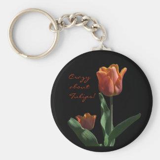 Orange Tulips Basic Round Button Key Ring
