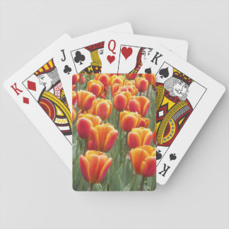 Orange Tulips Floral Playing Cards