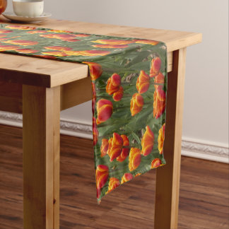 Orange Tulips Floral Short Table Runner