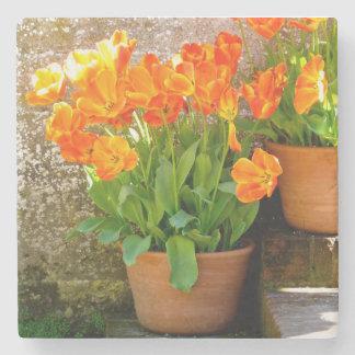 Orange Tulips Marble Coaster Stone Coaster