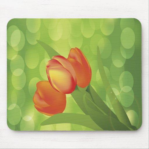Orange Tulips Mouse Pad