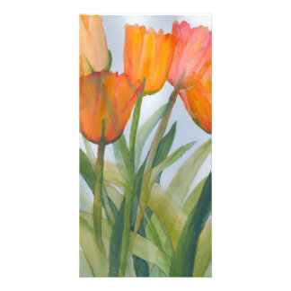 Orange Tulips Photo Card