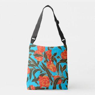 """Orange Tulips"" Turquoise Cross Body Bag"