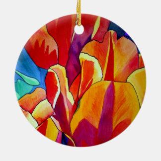 Orange Tulips watercolor art flower painting Round Ceramic Decoration