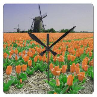Orange Tulips Windmills Landscape Square Wall Clock