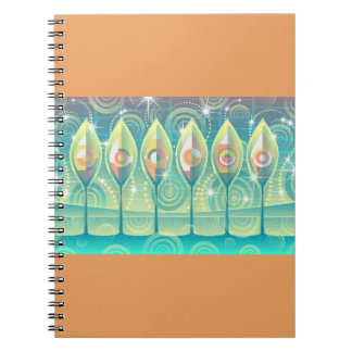 Orange/Turquoise Abstract Trees Spiral Notebook