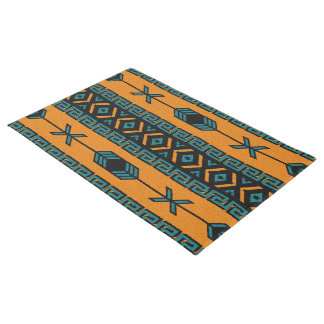 Orange Turquoise Aztec Pattern Southwest Tribal Doormat