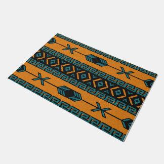 Orange Turquoise Aztec Pattern Southwest Tribal Doormat