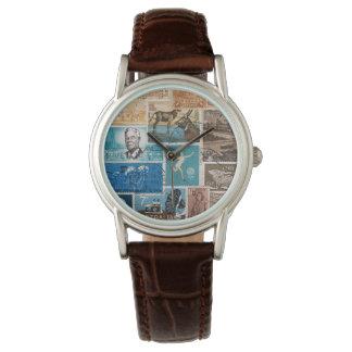 Orange Turquoise Brown Wristwatch, Postage Stamps Wristwatch