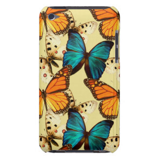 Orange Turquoise Butterflies Butterfly Pattern Barely There iPod Case