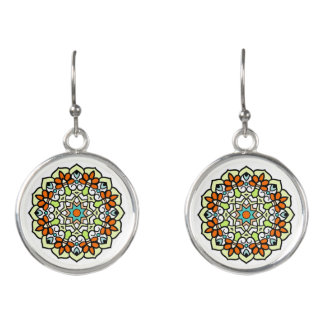 Orange Turquoise Green and Brown Mandala Earrings