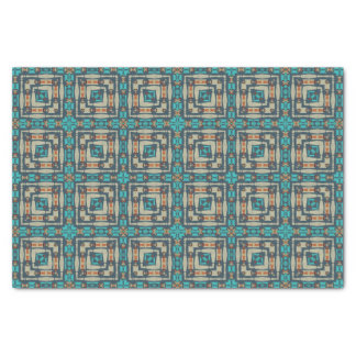 Orange Turquoise Teal Native Tribal Mosaic Pattern Tissue Paper