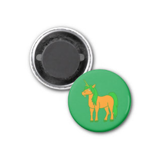 Orange Unicorn with Green Mane 3 Cm Round Magnet