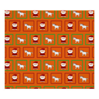 Orange unicorns santa claus pattern poster