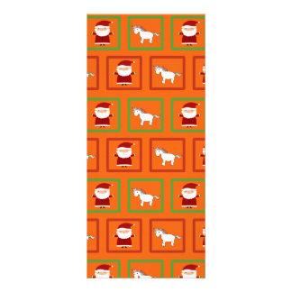 Orange unicorns santa claus pattern custom rack cards