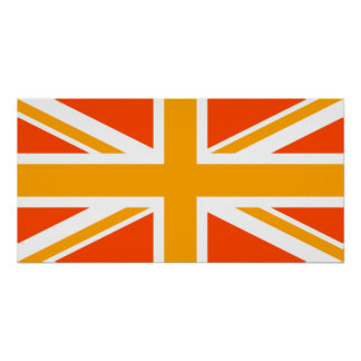 Orange Union Jack Poster