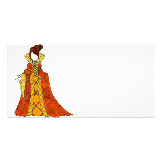 Orange Velvet and Pearls Gown Photo Card