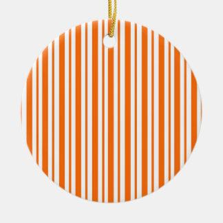 Orange Vertical Pinstripe Christmas Ornament