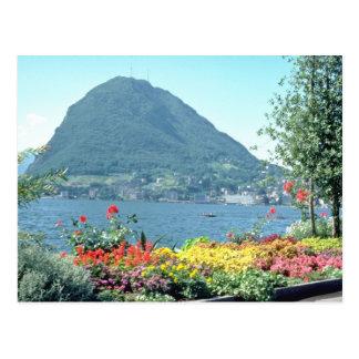 Orange Views of public gardens, Lugano, Switzerlan Postcard