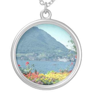 Orange Views of public gardens, Lugano, Switzerlan Silver Plated Necklace