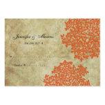Orange Vintage Floral Seating Card Business Card