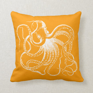 Orange Vintage Octopus & Nautical Stripes Cushion